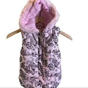 Little Lass Puffer Vest Diamond Snap Fur Hood